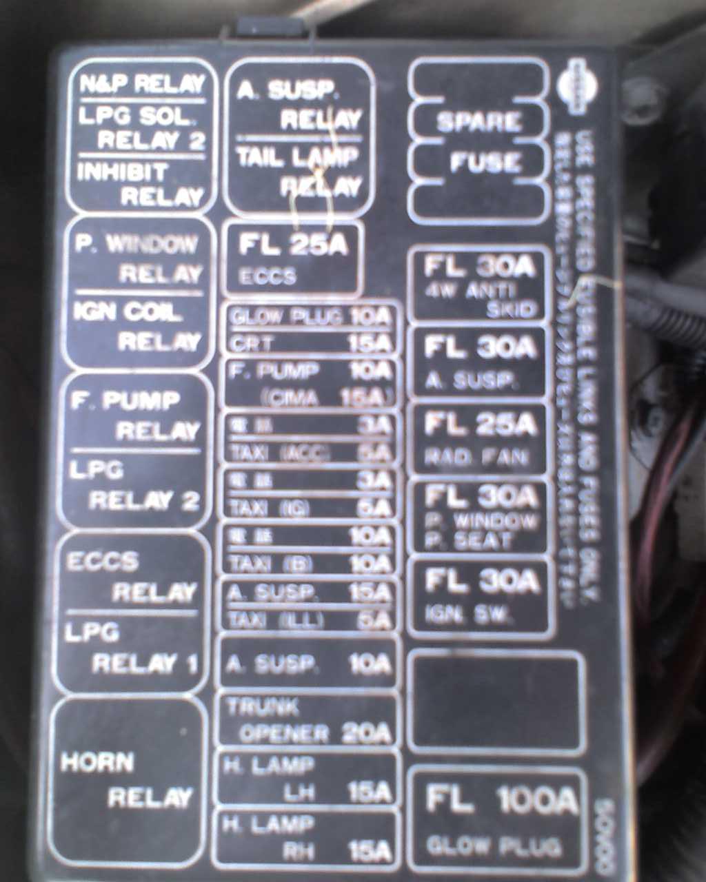 Nissan Cefiro Fuse Box Translation Custom Wiring Diagram Boxes Y31 Cima Four Door Family Sau Community Rh Com Au 2004 Maxima
